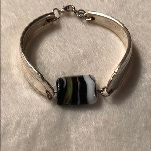 Jewelry - Sterling silver spoon bracelet. Glass bead.